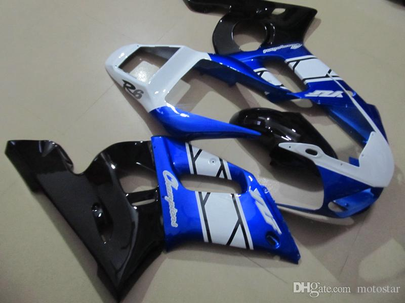 Motorcycle Fairing kit for Yamaha YZF R6 98 99 00 01 02 blue white black fairings set YZFR6 1998-2002 OT06