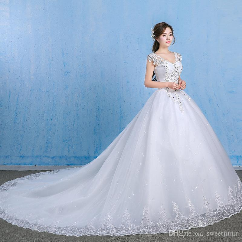 Wedding Dress 2017 New Summer Korean Large Size Was Thin Diamond Bride Luxury Tail Shop For Dresses Show Me From Sweetjiujiu