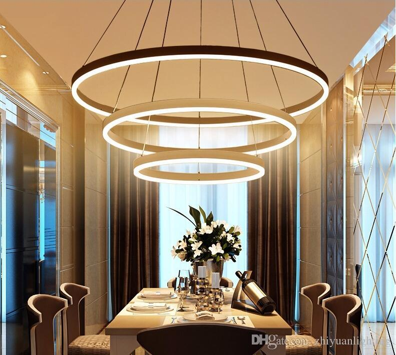 Circle Rings Modern Led Pendant Lights Acrylic Chandeliers Lighting  Designer Pendant Lamps Living Room Dining Lighting Fixtures Modern Pendants  Hanging ...