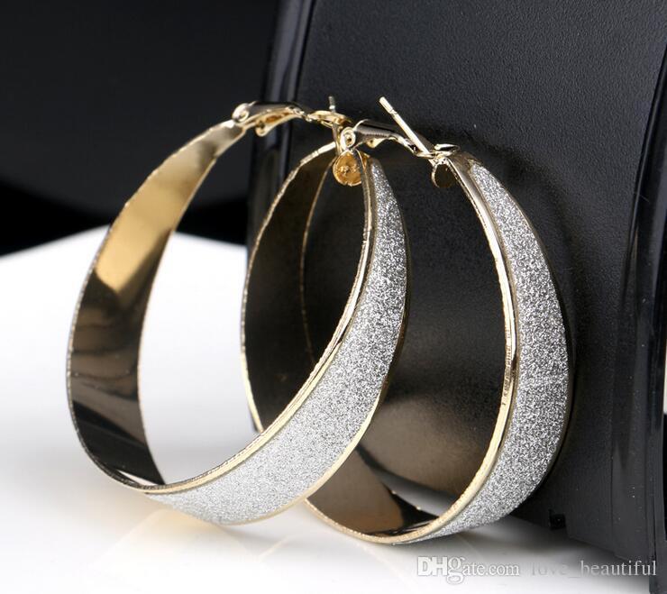 2017 vendita calda 50mm esagerazione major suit rock club scrub geometria earbob ragazza / signora scrub irregolare grandi orecchini mix d'argento dorato