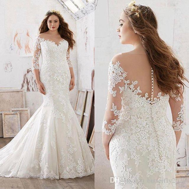 Plus Size Ivory Lace Mermaid Wedding Dresses With Sleeves Appliques ...