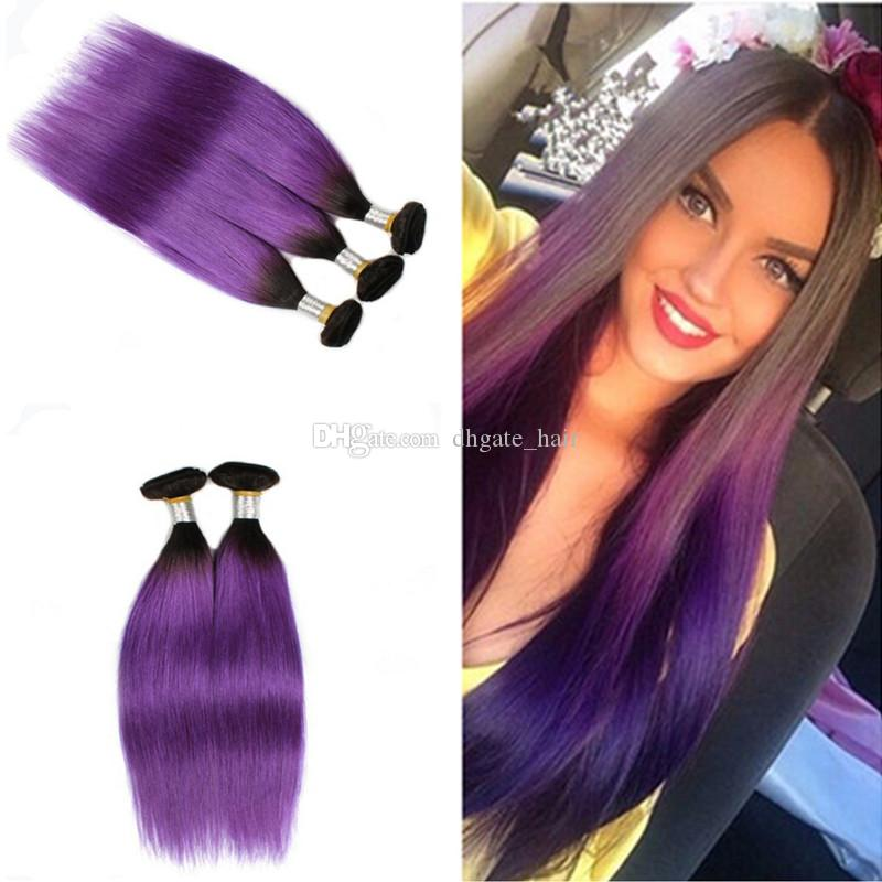 9a Ombre Hair Extensions Two Tone 1bpurple Dark Roots Ombre Silky