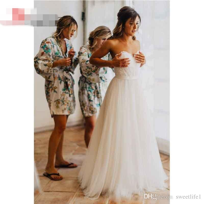 Elegant Tulle Beach Wedding Dresses 2019 Sweetheart Lace A line Simple Cheap Bridal Gowns Country Wedding Dress