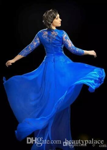 Design Formal Royal Blue Sheer Evening Dresses With 3 4 Sleeved Long Prom Gowns UK Plus Size Dress For Fat Women