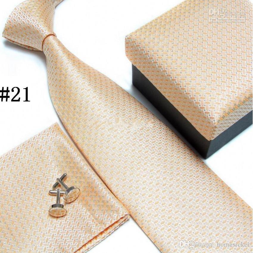 ensemble de cravate cravate boutons de manchette cravates pour homme polyester ascot hankies rayé tour poche