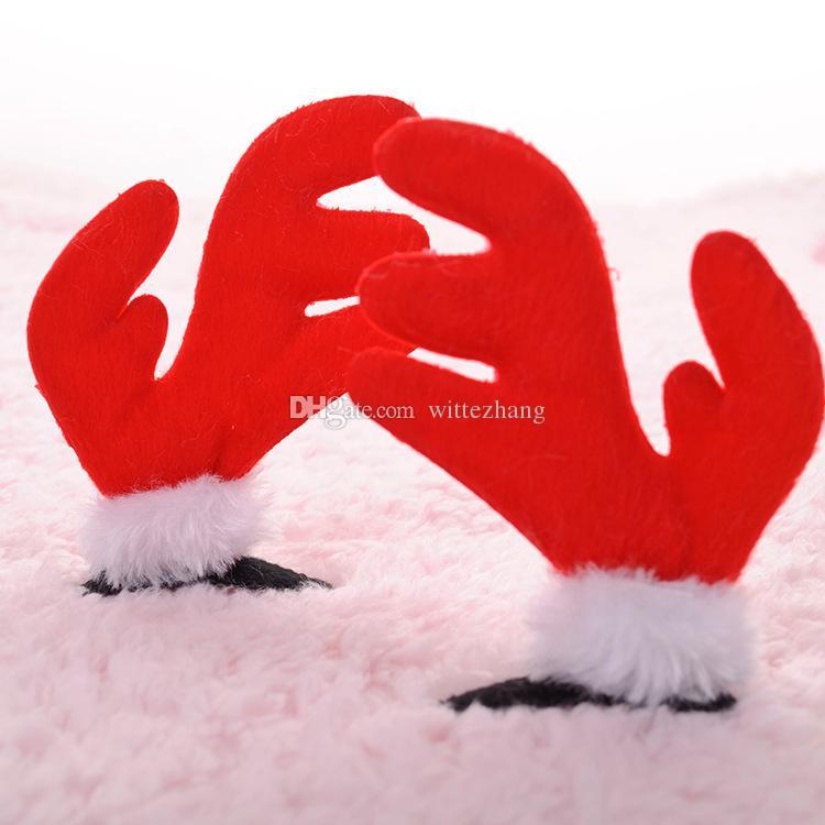 es de bois de noël accessoires pour animaux de compagnie de cheveux rouge fournitures pour toilettage mignon d'animal de compagnie chiens drôles chats ornements de cheveux