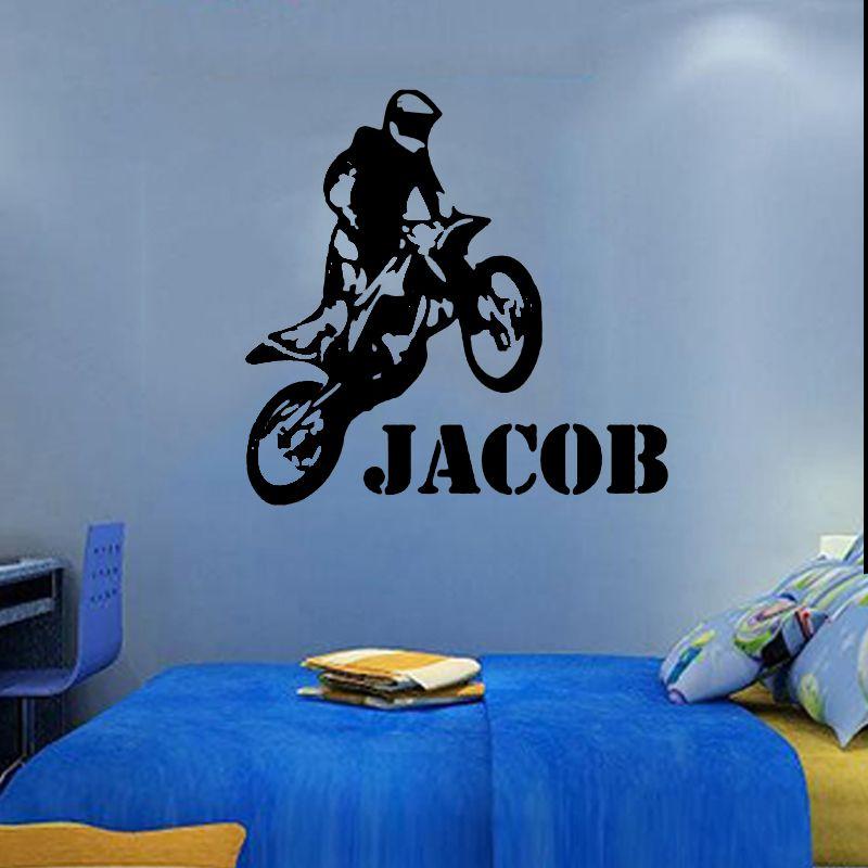 Custom Name Vinyl Decals Motorbike Motocross Wall Decal Wall Sticker