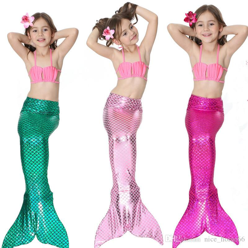1c267e831ec3 2019 Multicolor Kids Mermaid Tail Bikini Set Mermaid Swimsuit Cosplay Swimming  Costume Swimwear Fish Tail Beachwear Bathing Suit Girl Swimsuit From ...