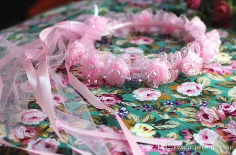 Девушка вуали красивый жемчуг кружева цветы гирлянда дети аксессуары для волос на День Рождения милый оголовье с лентами ZA3040