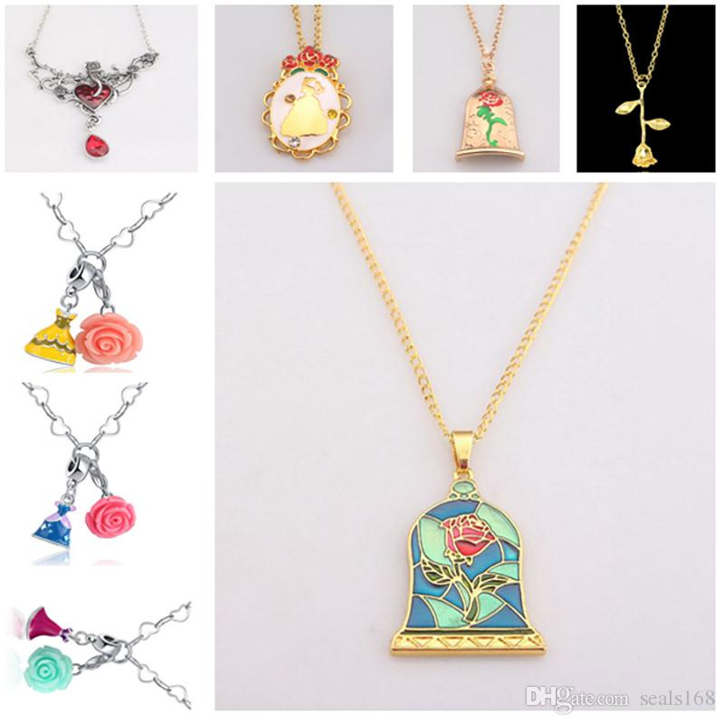 1309b2f64d374 Charms Belle Necklace Children Women Rose Flower Necklace Halloween  Dress-Up Cosplay Jewelry Accessories Gifts HH7-120