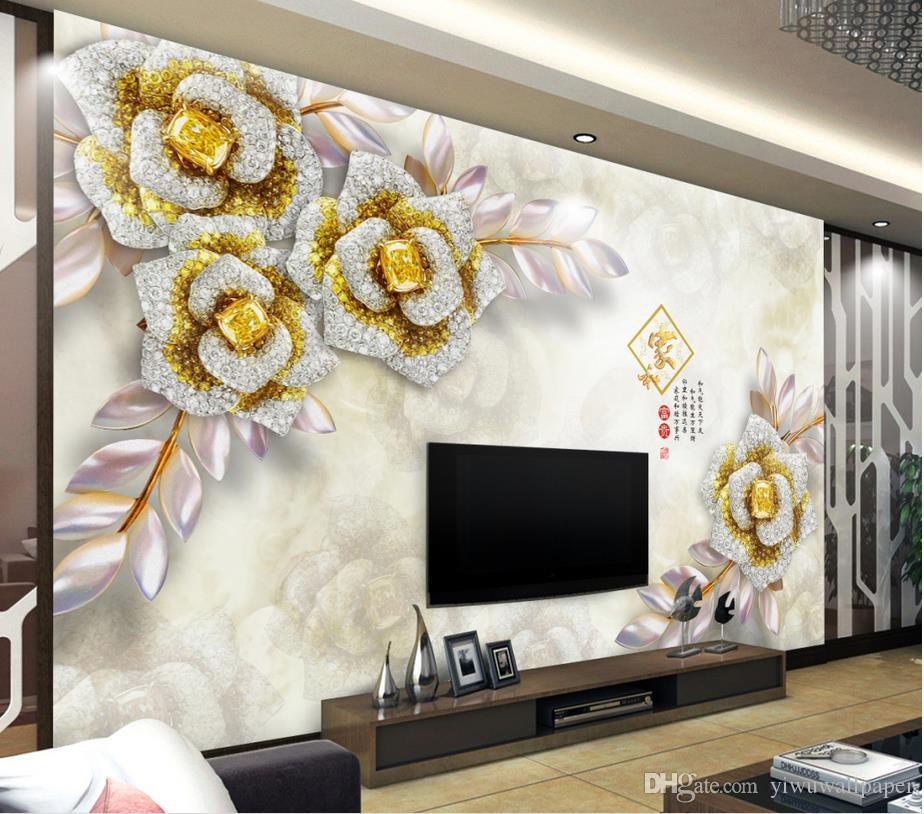 Top Classic 3D Europäischen Stil 3D Stereo Gold Luxus Edelstein Blume Schmuck Hintergrund Wand