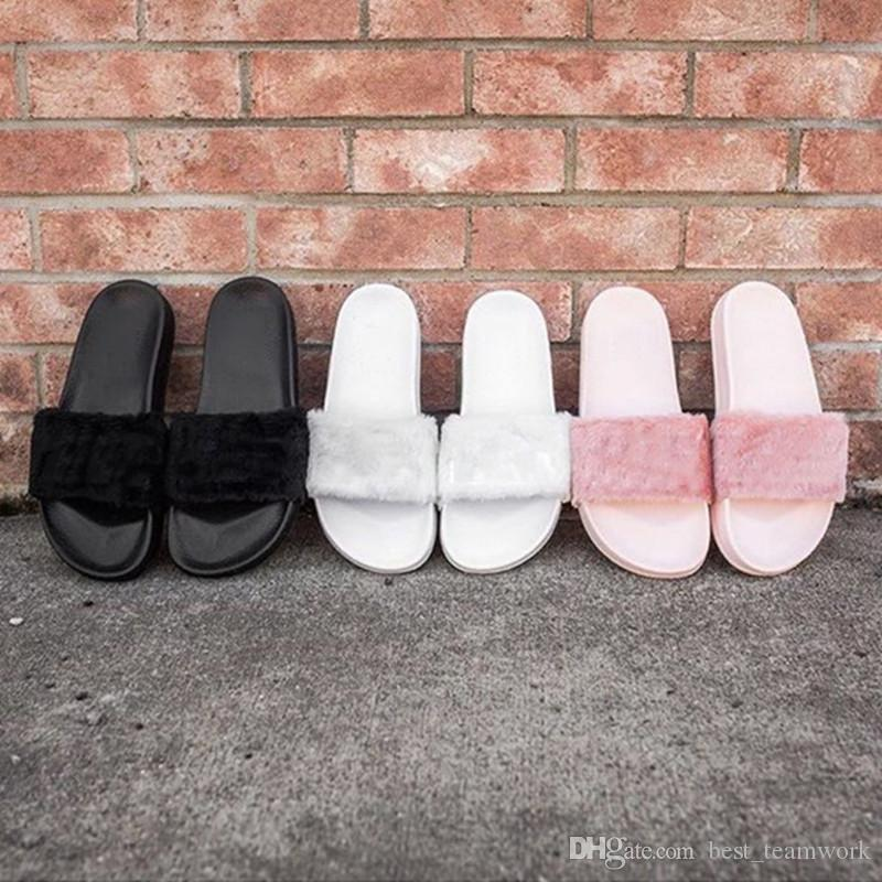 Leadcat Fenty Rihanna Shoes Women Slippers Indoor Sandals Girls Fashion Scuffs Pink Black White Grey Fur Slides Without Box Best Quality