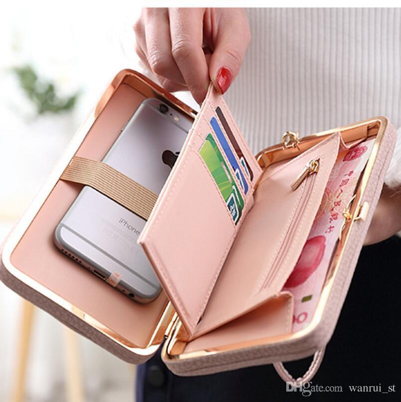 Nueva llegada Nuevas carteras de mujer Titular de tarjeta de crédito de cuero para mujeres Niñas Carteras Monedero Monederos Carteras de embrague Bolsas de monedero CELL Phone Box