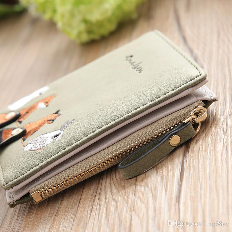 Wholesale Cheap Short Female PU Leather Wallet The Cute Animals Cartoon wallets For Students Women Wallets And Coin Purses
