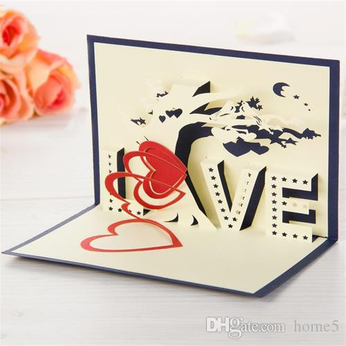 2017 Hot Fashion Greeting Card Handmade 3d Unique Gift Paper Carving