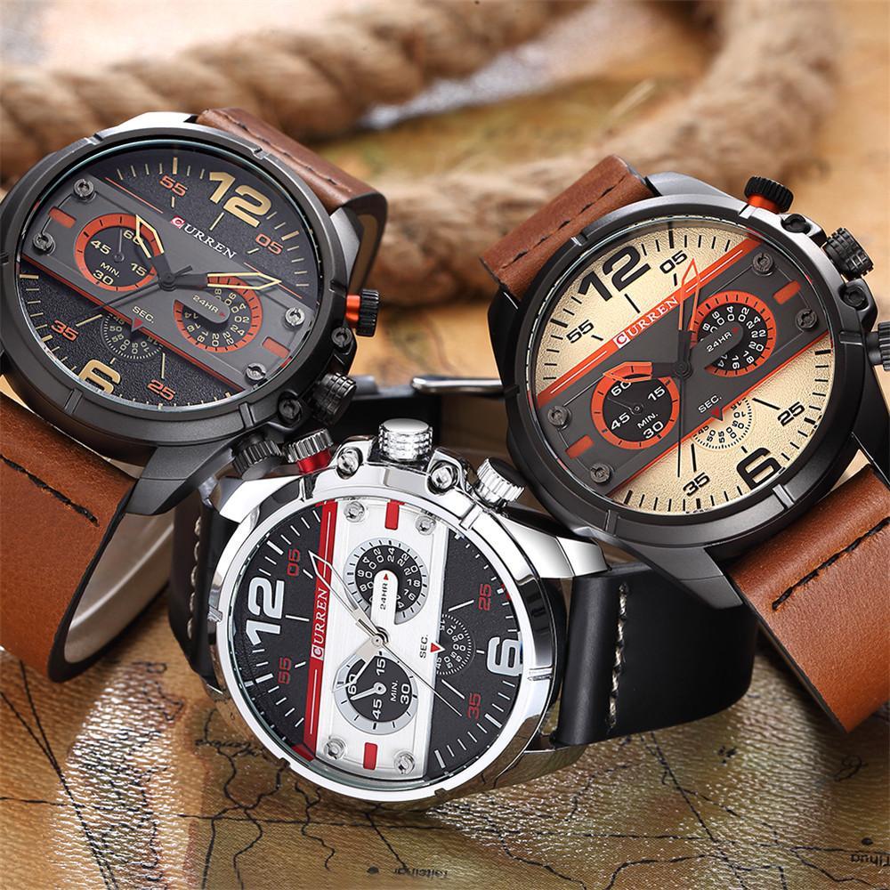 4de7518999a4 Compre Curren 8259 Sport Watch Men Top Brand Reloj De Cuarzo De Lujo Muñeca  Informal Reloj Militar Resistente Al Agua Para Hombre Relojes Relogio  Masculino ...