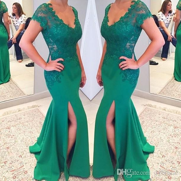 2018 Sexy Cheap Lace Emerald Green Prom Dress Plus Size Dresses ...