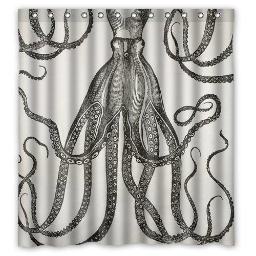 2019 Custom Black And White Octopus Shower Curtain Waterproof Fabric Bathroom 66W X 72H From Bestory 2301