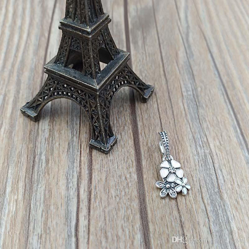 Auténticas 925 cuentas de plata esterlina Floraciones poéticas Charm colgantes Se adapta a la joyería de estilo Pandora Europea Collar de pulseras 791824ESMX