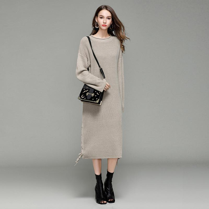 e869f8cf6af3 Long Sweater Dress Winter Autumn Women O Neck Solid Color Knitted Dresses  Thick Casual Loose Ladies Vestido For Ladies Black White Short Cocktail  Dress ...