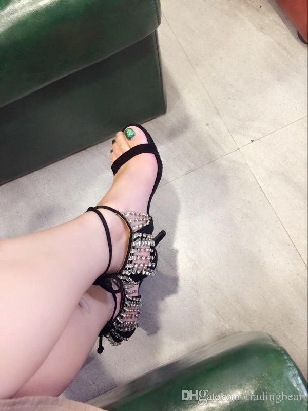 Römischen Stil Knöchelriemen Kristall Nieten Glitter Schuhe Sandalen für Frauen Heels Ballroom Dance Schuhe Party Hochzeit Abendkleid Größe 35 bis 40
