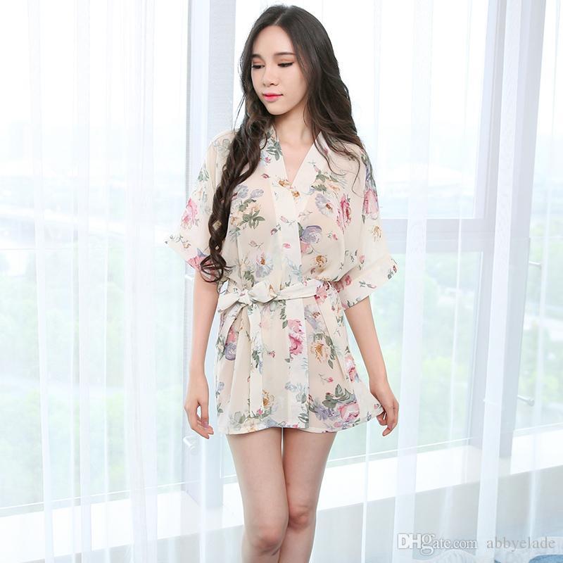 Sexy nightgown Japanese printed Kimono Robe Sakura kimono Uniform suit increase lingerie sleepwear gown Chiffon Transparent Sexy Nightgown
