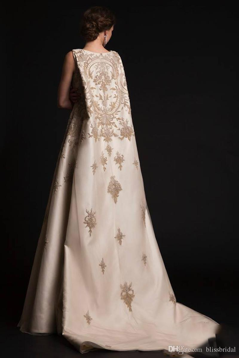2017 Krikor Jabotian Dresses New Arabic Middle East Evening Gowns with Cloak Cape with Gold Appliques