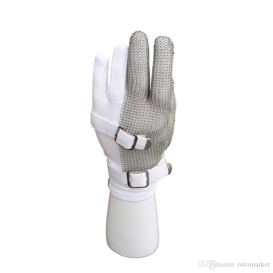 Three-finger nylon wristband glove cutting gloves stainless steel mesh metal net butcher anti-cutting oyster gloves working safety glove