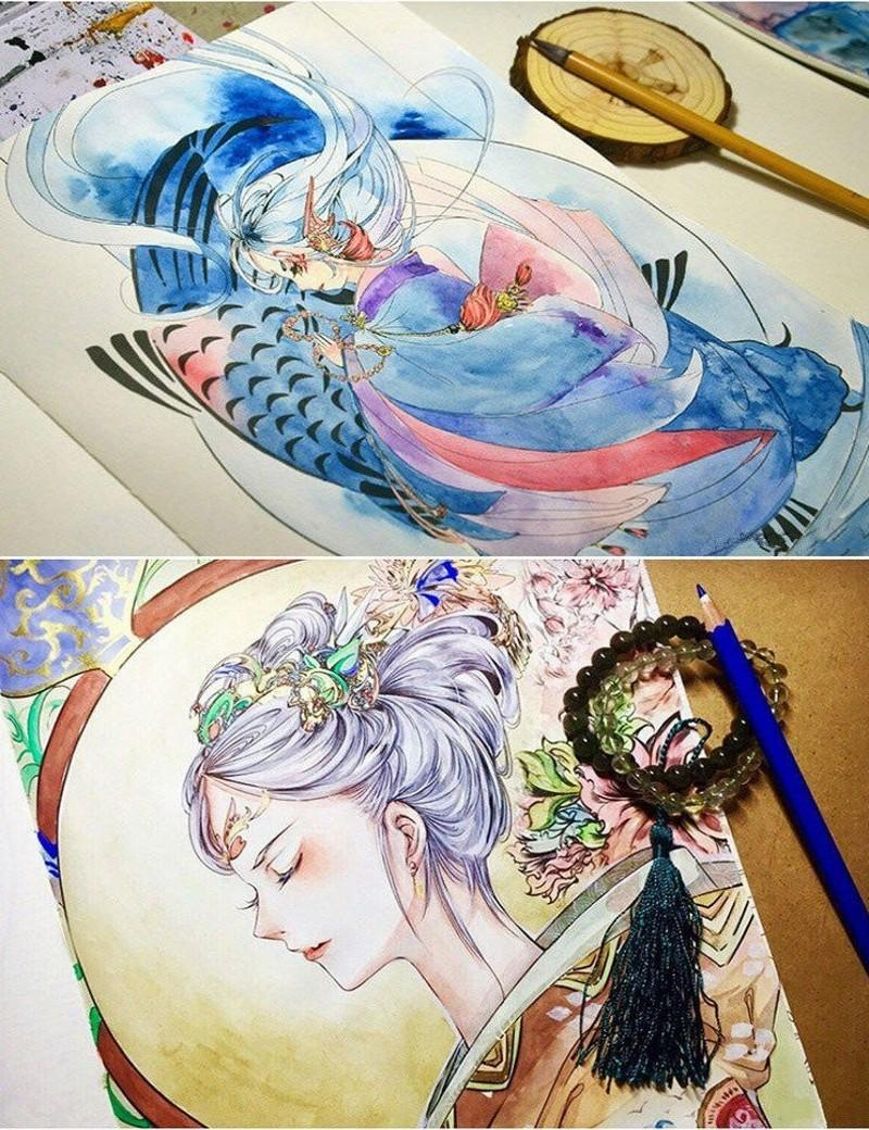 Watercolor books for kids - 105 Pages Drawing Books Beautiful Antiquity Coloring Books For Adults Kids Children Relieve Stress Secret Garden Painting Book Detailed Colouring Books