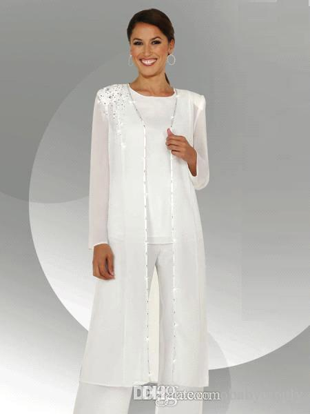 White Chiffon Long Sleeves Mother of the Bride Pant Suits With Long Blouse Sequins Beaded Mother of Groom Pant Suit BA3961
