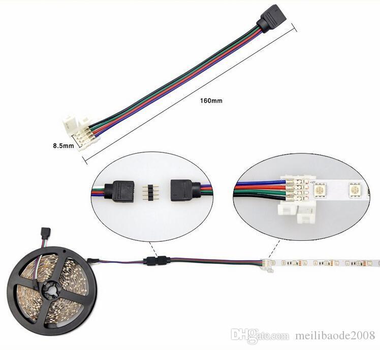 Conectores de luz de tira LED RGB 10mm 4PIN Sin cable de soldadura Cable PCB a adaptador de 4 pines hembra para SMD 3528 5050 LLFA