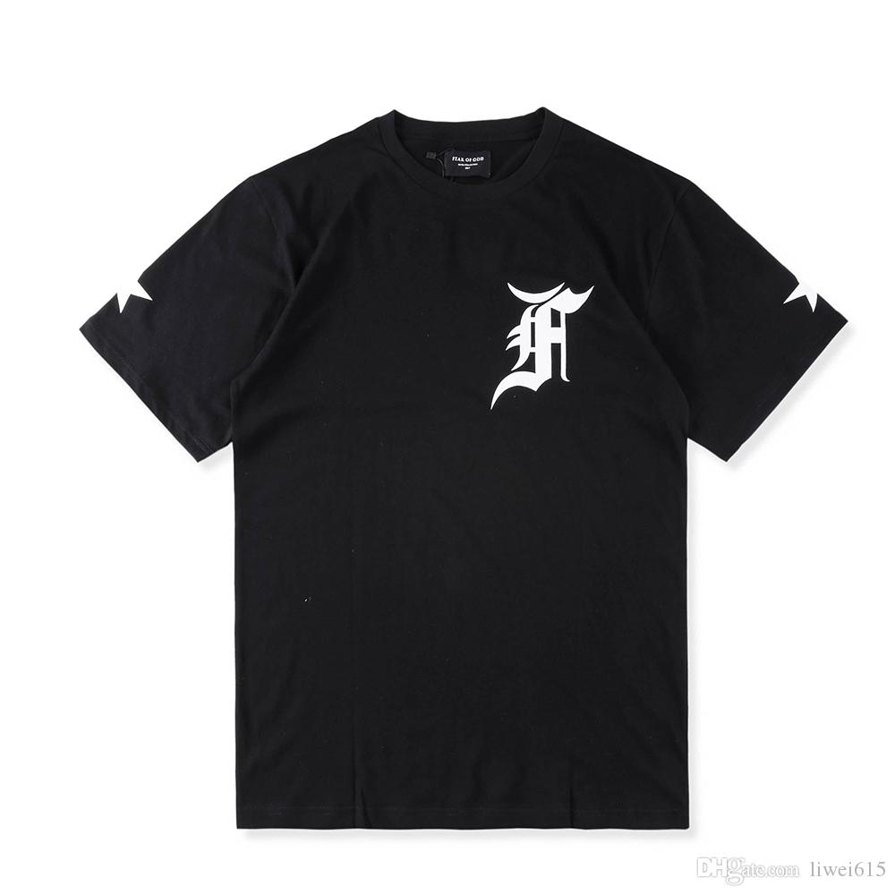 Best quality black t shirt - 2017 Best Quality Justin Bieber Fear Of God Fog Fifth Collection Men T Shirt Hip Hop Unisex Embroidery Letters Oversized Tee Black White Casual Shirts T