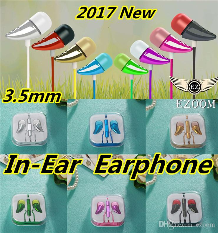HOT Sale Fashion Colorful Earphone 3.5mm In-Ear Headphones Electroplating Bass Cell Phones Headset For Samsung IPhone 5 6s With Retail box