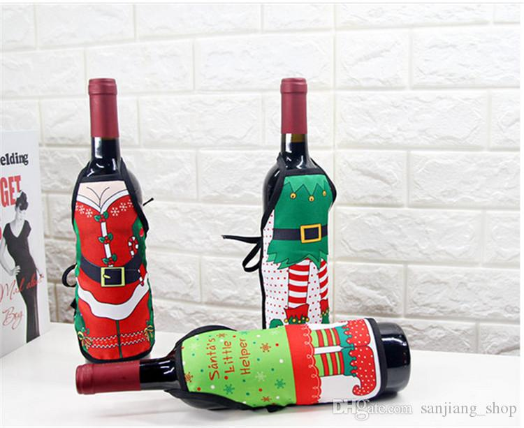 christmas wine bottle cover mini apron xmas santa claus table decoration elk deer red wine champagne decoration party favors gift 2017 indoor christmas - Christmas Wine Bottle Decorations