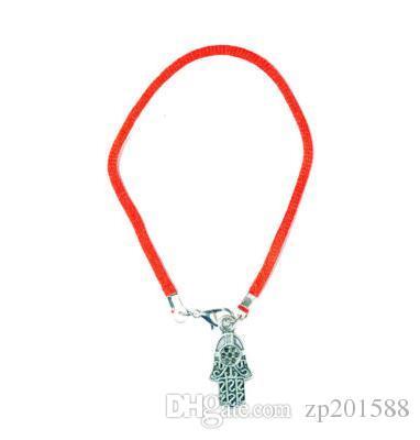 100 Pz Vintage Argento Kabbalah Hamsa Mano Charms Rosso String Polsino Buona Fortuna Bracciali Braccialetti Gioielli San Valentino Accessori Gif N1922