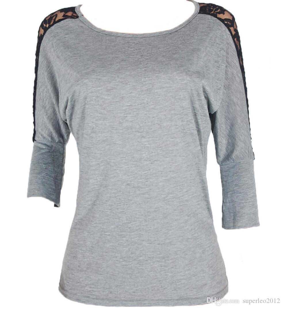 Women's Long Sleeve T Shirt Lace Patchwork Top Tees Cotton O Neck Black Lace Pullover Casual Slim Tops NS 8590