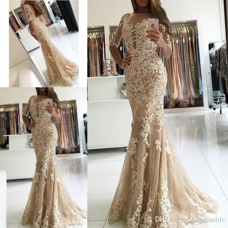 1fd531fc48fe 2017 Elegant Champagne Lace Mermaid Evening Dresses Half Sleeve Open Back  Prom Dress Long Formal Party Gowns Italian Evening Dresses Kids Evening  Dresses ...