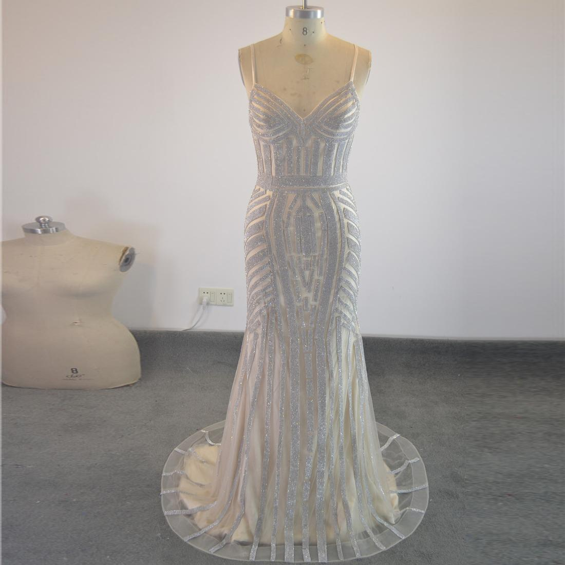 201d78a80303 New Style Luxury Heavy Beading Crystal Mermaid Long V Neck Tulle Evening  Dresses Sexy Prom Dress 2018 Casual Evening Dresses Discount Evening Dresses  From ...