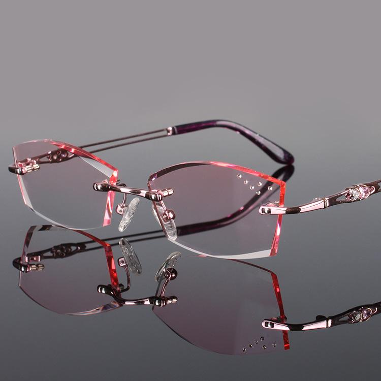 d5993906782 2019 Wholesale Chashma Pure Titanium Fashionable Lady Eye Glasses Diamonds Rimless  Spectacle Frames Women From Duweiha