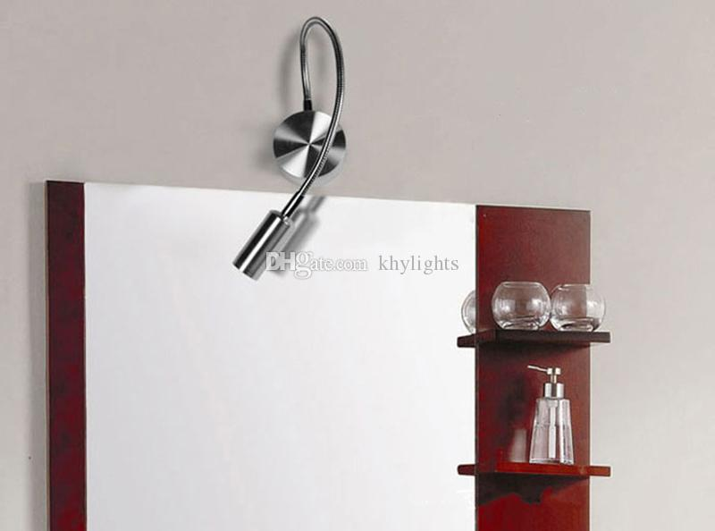 New Silver Flexible Hose LED Modern Wall Lamp 1W 3W Flexible Arm Light Lamp Bedside Reading Light Study Painting Wall Lighting