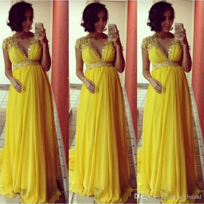 Yellow Maternity Evening Wear Dresses 2017 Fashion V Neck Beaded ...