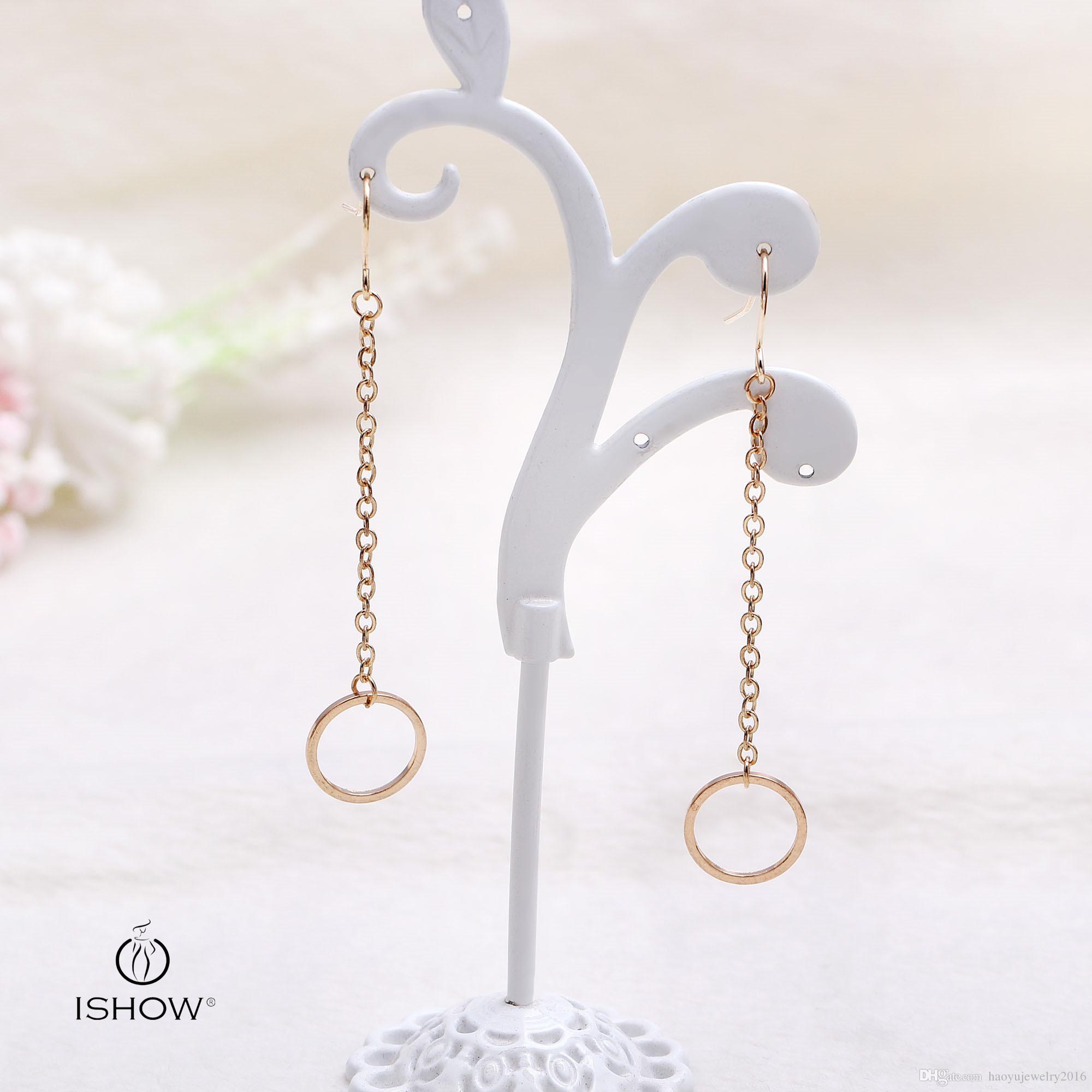 Brief & Fashion Dangle & Chandelier Long Eardrop Women Gold Plated