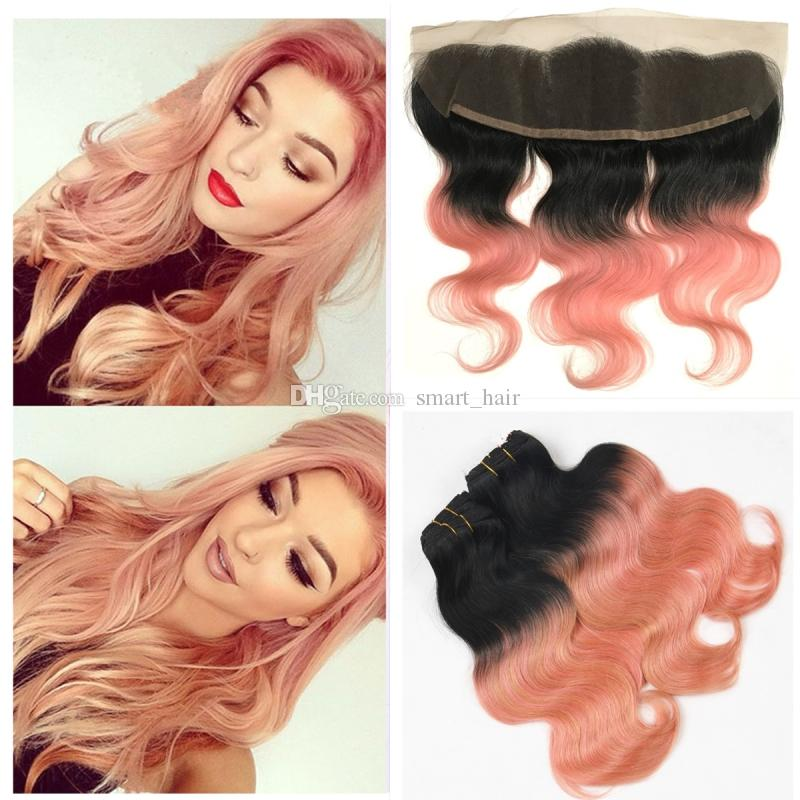 Blonde 1b Rose Gold Human Hair Weaves Bundles With Frontal Body Wave