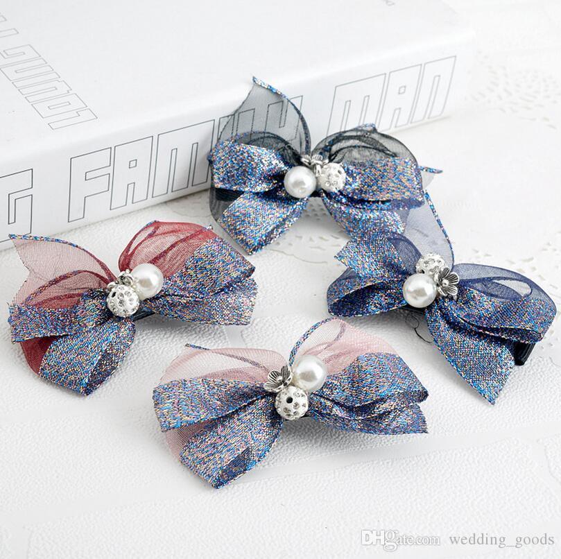 diamants dentelle vente chaude en épingle à cheveux de tissus ornements de cheveux de perles en épingle à cheveux tête carte ornements FJ158 pour mélanger 60 morceaux beaucoup