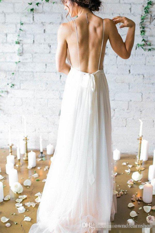 2017 Simple Sexy Plunging V Neck Straps Spaghetti Sheath Chiffon Wedding Dresses Backless Long Cheap Bridal Gowns Summer Beach Wedding Gowns