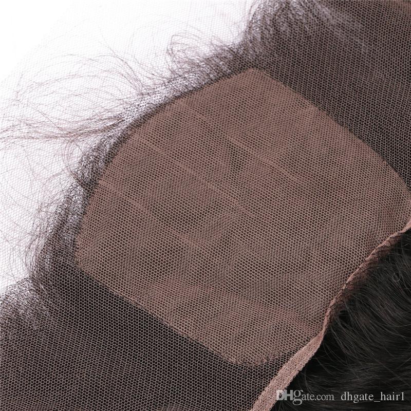 أومبير قاعدة الحرير 13x4 الأذن إلى الأذن الرباط أمامي إغلاق جسم موجة 1B / 30 متوسطة أوبورن الظلام الجذر أومبير المقدمات مع شعر الطفل