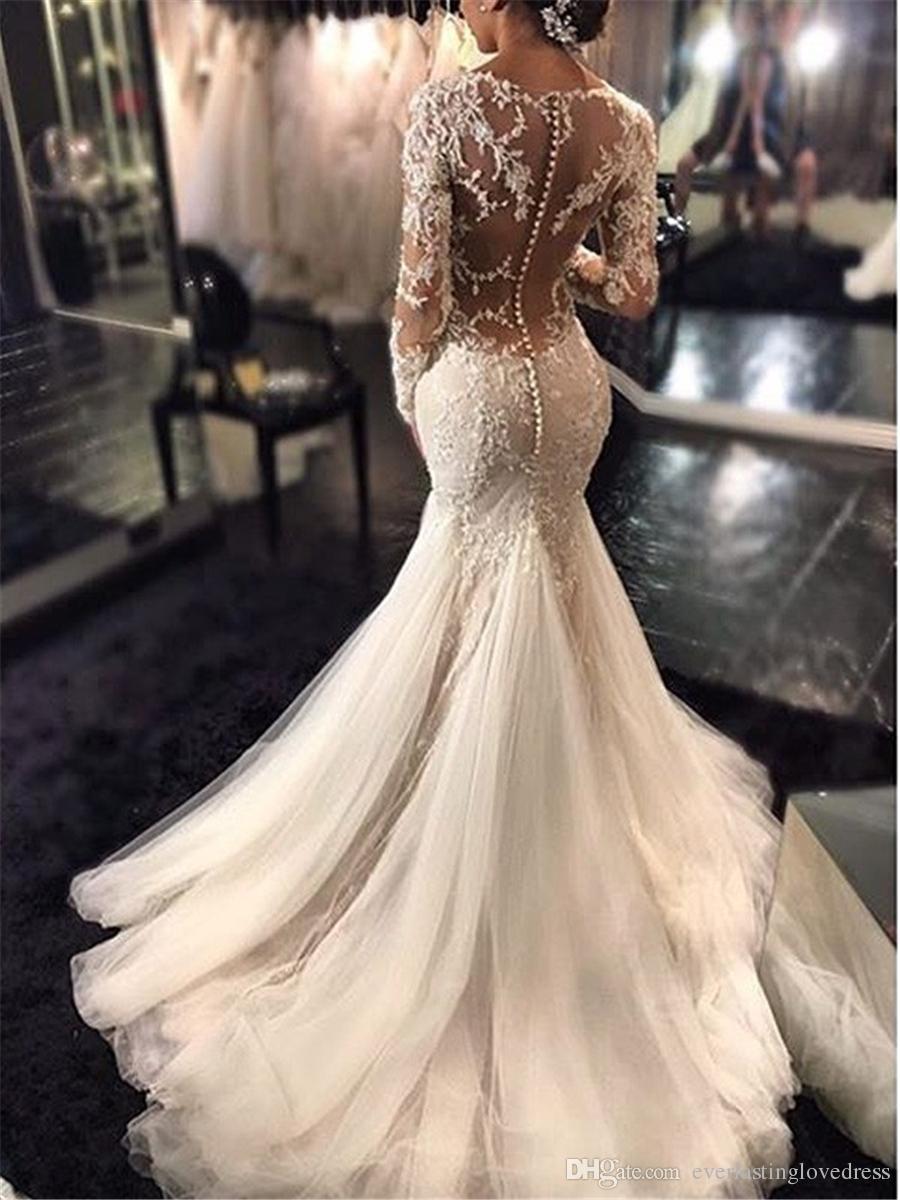 Trombeta / sereia em v-decote mangas compridas lace tribunal trem tule applique laço vestidos de casamento ilusão de volta vestido nupcial com pick up saia