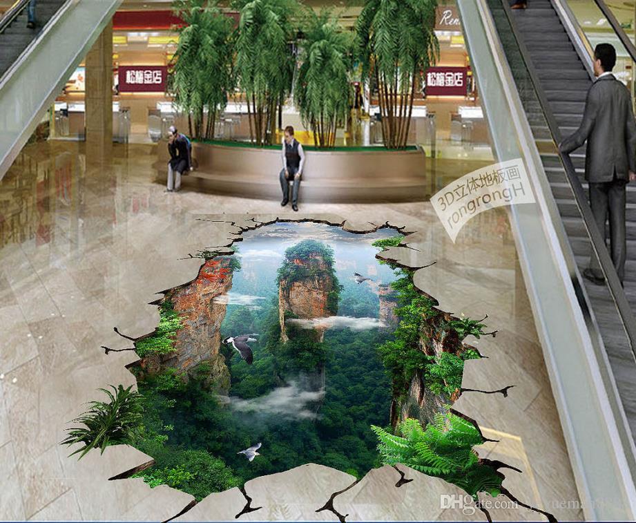Custom pvc flooring roll Waterfalls 3d landscape wallpaper floor mural living room modern wallpaper for the bedroom floor