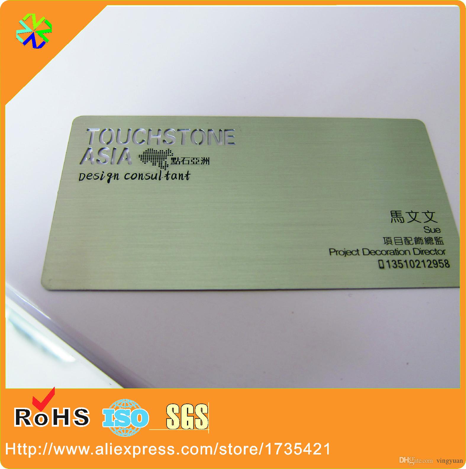 Acheter Impression Couleur En Mtal Cartes De Visite Acier Inoxydable Carte Membre Vip 16865 Du Vingyuan