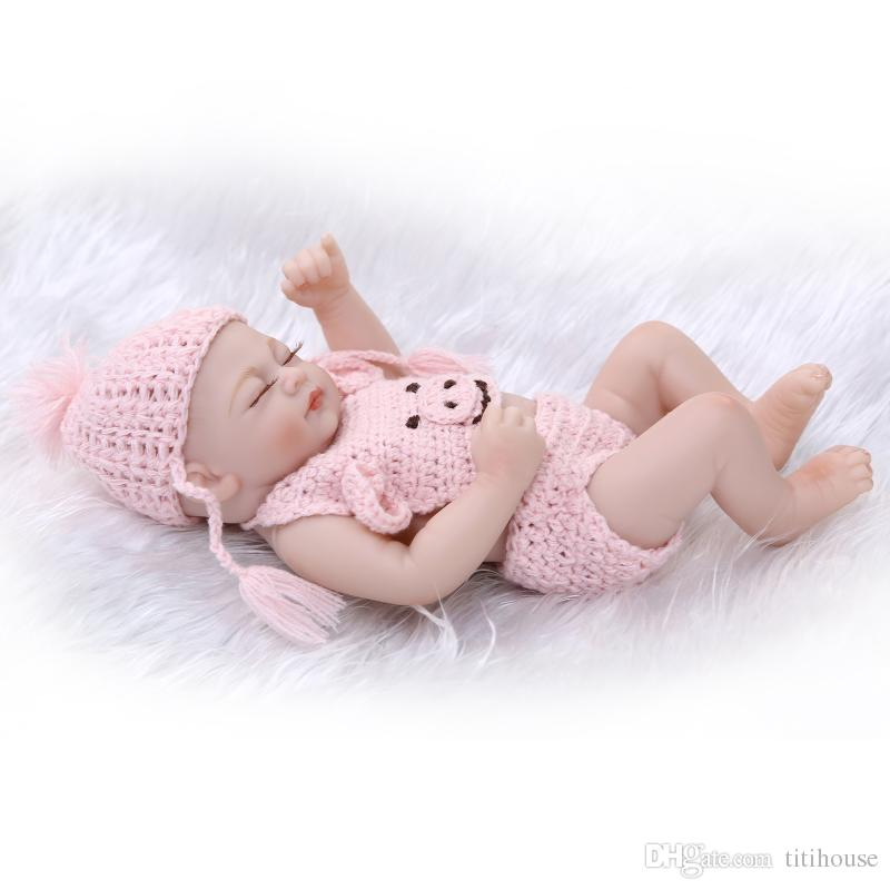Full Vinyl Reborn Baby Boy Silicone 10 Inch Newborn Dolls Realistic Baby Dolls For Kids Brown Eyes For Baby Shower New Year Gift
